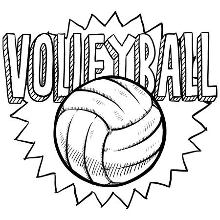 pelota de voley: Estilo Doodle ilustraci�n voleibol en formato vectorial Incluye texto y la pelota