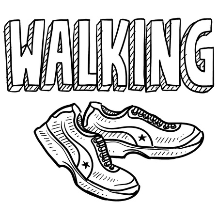 Doodle Stil Walking Sport-Abbildung enthält Text-und Tennis-Schuhe Standard-Bild - 18476335