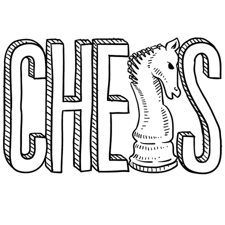 Doodle style chess illustration in vector format  Includes text and knight chess piece sketch  illustration