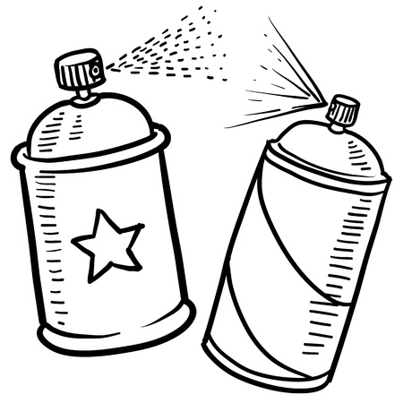 paint can: Doodle style spray paint illustration in vector format  Includes text and paint can  Stock Photo