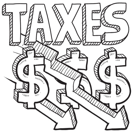 Doodle style tax decrease illustration in vector format  Includes text, down arrows, and dollar signs