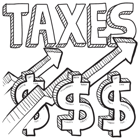 decrease: Doodle style tax increase illustration in vector format  Includes text, dollar signs, and arrows pointing up  Stock Photo