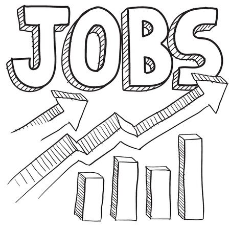 job opportunity: Doodle style jobs or employment increasing illustration in vector format  Includes text and up arrows with bar graph  Stock Photo