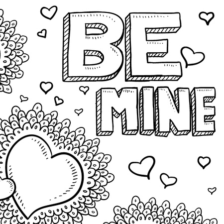 Doodle style Be Mine Valentine s Day illustration in vector format  Includes text, in addition to a variety of hearts in the art space as a background