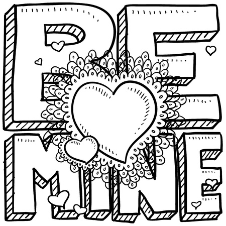 Doodle style Be Mine Valentine s Day illustration in vector format Stock Photo