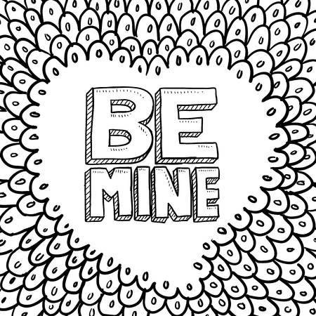 Doodle style Be Mine Valentine s Day illustration in vector format  Includes text, with hand drawn heart background  Stock Photo