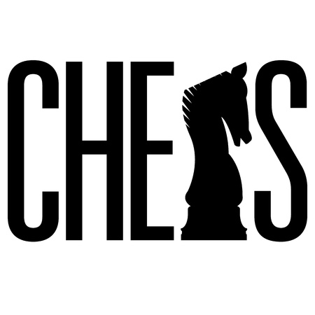 Doodle style chess illustration in vector format  Includes text, along with integrated knight piece silhouette  illustration