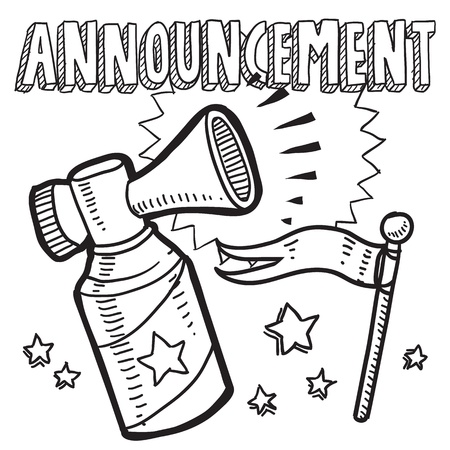 Doodle style announcement icon in vector format  Sketch includes text, air horn, and flag
