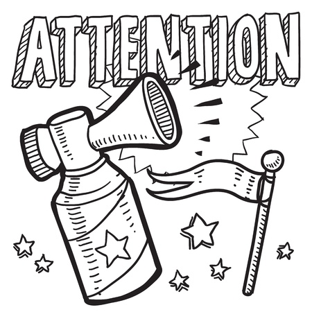 Doodle style attention announcement icon in vector format  Sketch includes text, air horn, and flag  Ilustração