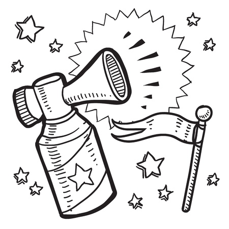 Doodle style announcement icon in vector format  Sketch includes air horn, and flag