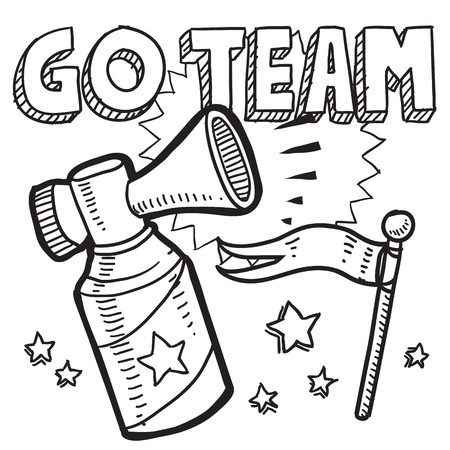 announcement icon: Doodle style go team announcement icon in vector format  Sketch includes text, air horn, and flag