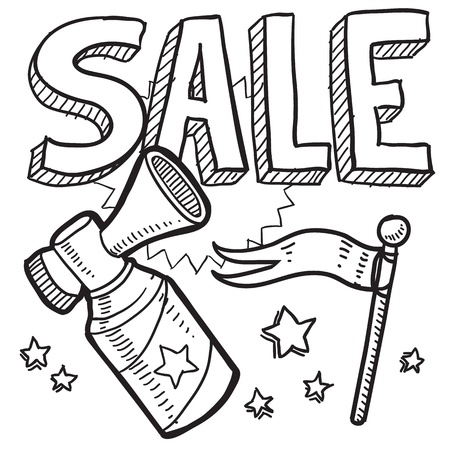 announcement icon: Doodle style retail sale announcement icon in vector format  Sketch includes text, air horn, and flag  Illustration