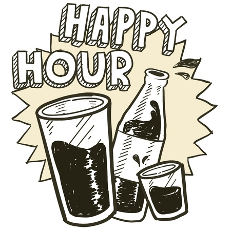 Doodle style happy hour alcohol drinking sketch in vector format   Includes pint glass, text, shot glass, and beer bottle  Vector