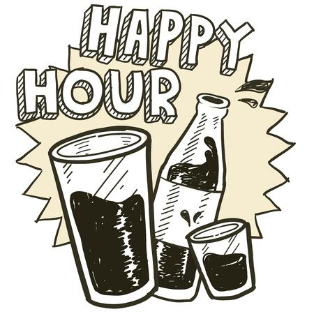 Estilo Doodle feliz alcohol horas bosquejo potable en formato vectorial Incluye vaso de cerveza, texto, vaso y botella de cerveza