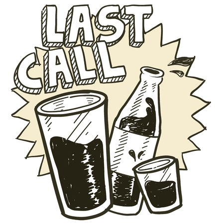 last day: Doodle style las call alcohol drinking sketch in vector format   Includes pint glass, text, shot glass, and beer bottle