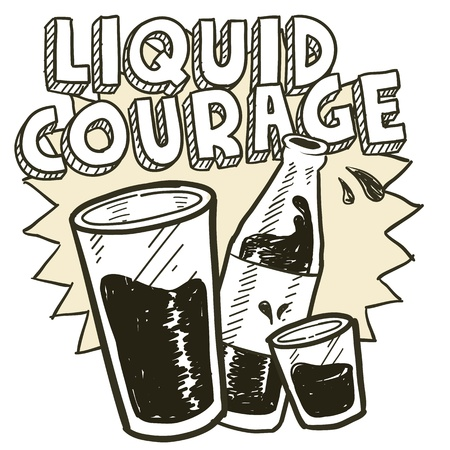 Doodle style liquid courage alcohol drinking sketch in vector format   Includes pint glass, text, shot glass, and beer bottle  Vector