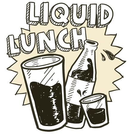 Doodle stijl vloeibare lunch alcohol drinken schets in vector-formaat Inclusief pint glas, tekst, shot glas en bierfles