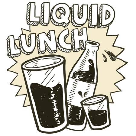 Doodle style liquid lunch alcohol drinking sketch in vector format   Includes pint glass, text, shot glass, and beer bottle  Vector