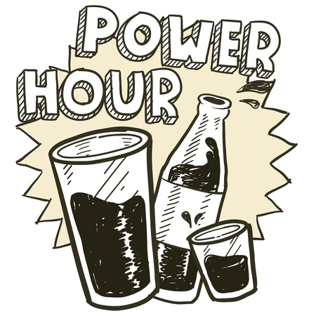 Doodle style power hour alcohol drinking sketch in vector format   Includes pint glass, text, shot glass, and beer bottle  Vector