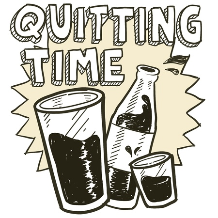 Doodle style quitting time end of day alcohol drinking sketch in vector format   Includes pint glass, text, shot glass, and beer bottle  Vector