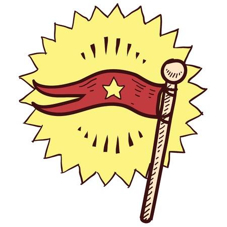 флагшток: Doodle стиль флаг или вымпел иллюстрация в векторном формате Иллюстрация