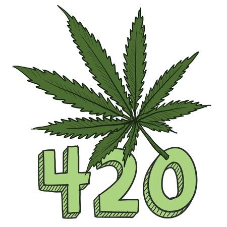marihuana: Doodle stijl 420 marihuana blad schets in vector-formaat Inclusief tekst en potplant Stock Illustratie