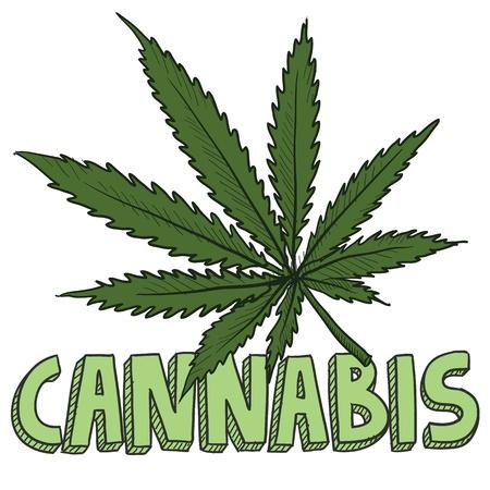 ivresse: Doodle cannabis style de feuille de marijuana croquis en format vectoriel comprend du texte et des plantes en pot