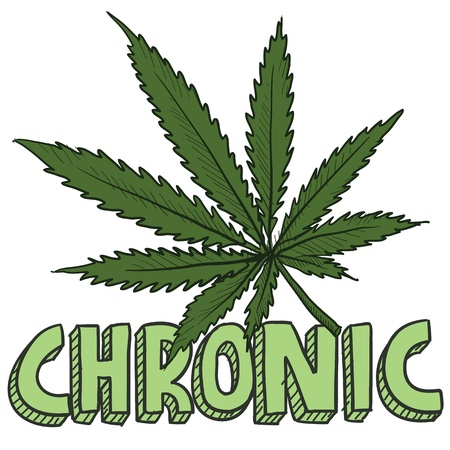 Doodle style chronic marijuana leaf sketch in vector format  Includes text and pot plant  Vector