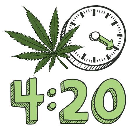 벡터 형식으로 낙서 스타일 (420) 마리화나 잎 스케치 냄비 공장, 텍스트, 시계를 포함