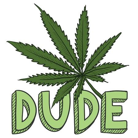 ivresse: Doodle style de mec croquis feuille de marijuana dans un format vectoriel comprend du texte et des plantes en pot Illustration