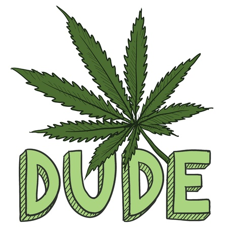 thc: Doodle style dude marijuana leaf sketch in vector format  Includes text and pot plant  Illustration