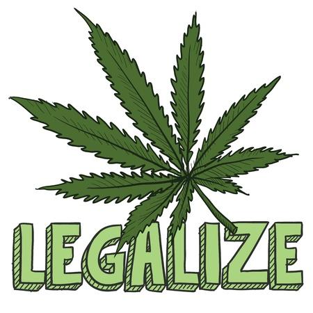 Doodle Stil legalisieren Marihuana Skizze im Vektor-Format inklusive Text und Topfpflanze Standard-Bild - 18476665