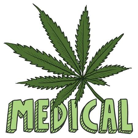 ivresse: Doodle style de croquis feuille de marijuana m�dicale dans un format vectoriel comprend du texte et des plantes en pot