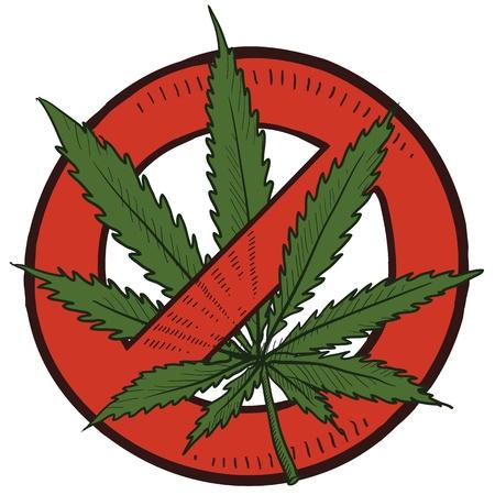 cannabis: Doodle Stil Verbot oder halten illegalen Marihuana Skizze im Vektor-Format Enth�lt Kreis mit Strich durch und Topfpflanze Illustration
