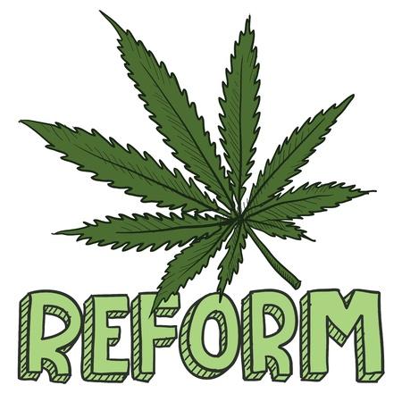 ivresse: Doodle marijuana style de la r�forme du droit croquis en format vectoriel Comprend le texte et la feuille de pot