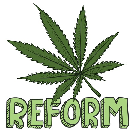 Doodle style marijuana law reform sketch in vector format   Includes text and pot leaf
