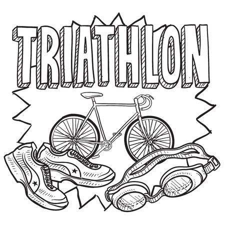 Doodle Stil Triathlon Abbildung im Vektor-Format inklusive Text und Schwimmbrille, Fahrrad und Laufschuhe Standard-Bild - 18476678