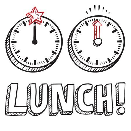 정오: 벡터 형식으로 낙서 스타일의 점심 시간 그림 텍스트와 정오을 나타내는 시계를 포함
