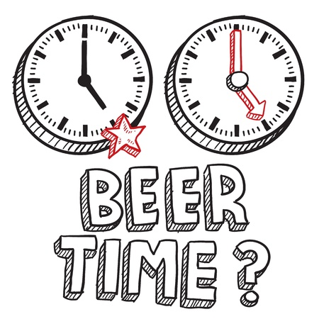 pm: Doodle style beer time or end of work day illustration in vector format  Includes text and clocks indicating 5 PM