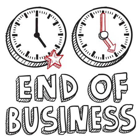 pm: Doodle style end of business illustration in vector format  Includes text and clocks indicating 5 00 PM