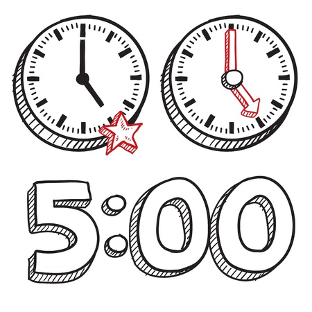 break in: Doodle style 5 00 PM end of work day illustration in vector format  Includes text and clocks  Illustration