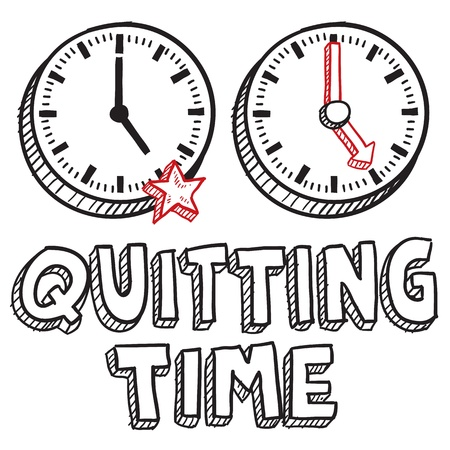 break in: Doodle style quitting time illustration in vector format  Includes text clocks indicating 5 00 PM