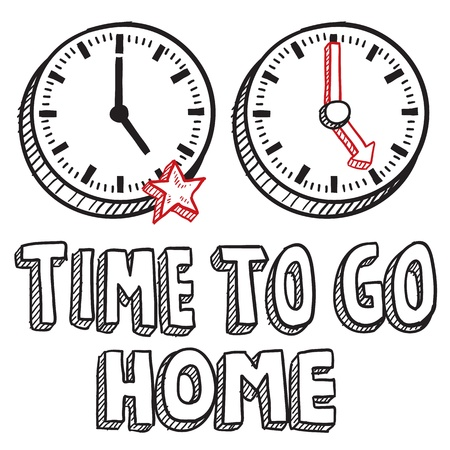 Doodle style time to go home illustration in vector format  Includes text clocks indicating 5 00 PM  Çizim