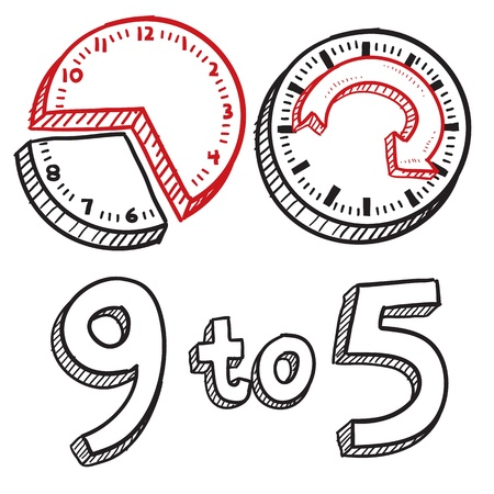 break in: Doodle style 9 to 5 job illustration in vector format  Includes text and clocks indicating times