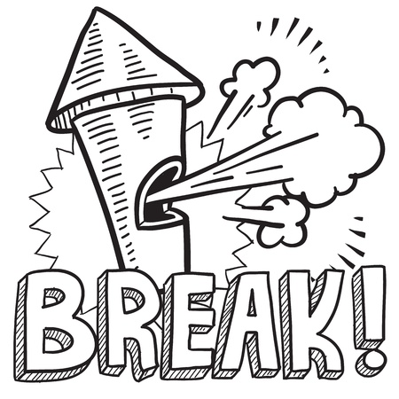break in: Doodle style break from work illustration in vector format  Includes text and blowing whistle
