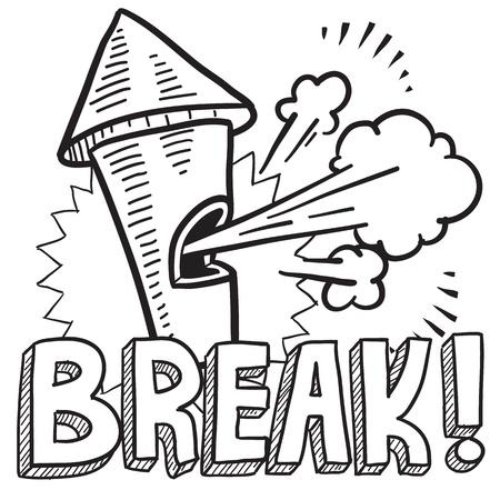 break in: Ruptura estilo del Doodle de ilustraci�n trabajos en formato vectorial Incluye texto y denuncia de irregularidades