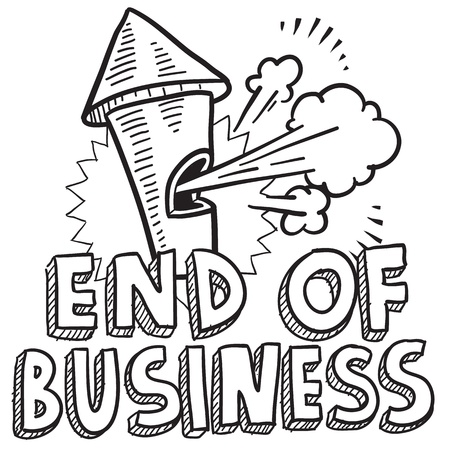 break in: Doodle style end of business illustration in vector format  Includes text and blowing whistle  Illustration