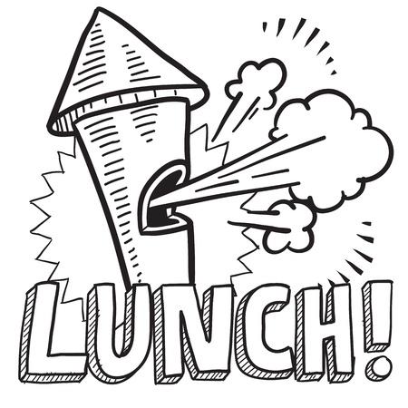 pause repas: Doodle illustration pause d�jeuner de style dans un format vectoriel Comprend le texte et d�nonciation