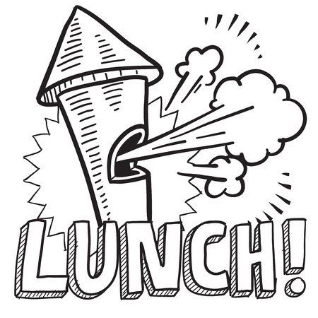 workday: Doodle style lunch break illustration in vector format  Includes text and blowing whistle