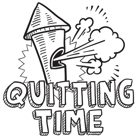 break in: Doodle style quitting time or end of work day illustration in vector format  Includes text blowing whistle  Illustration
